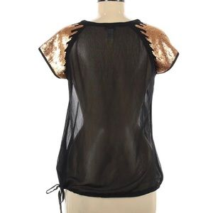 Black Sheer Blouse w/ Gold Sequins, Drawstring Hem